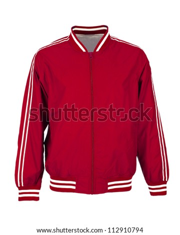 red sport jacket isolated on white background - stock photo