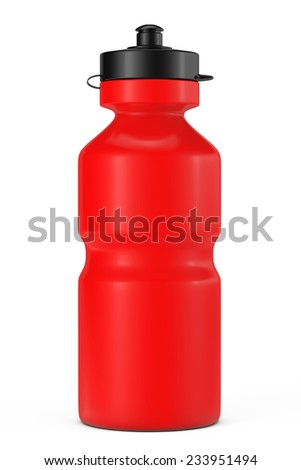 Red Sport Plastic Water Bottle on a white background - stock photo