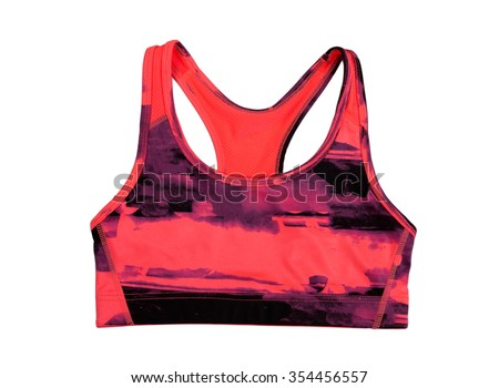 Red sports bra. Isolate on white.
