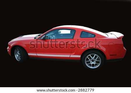 Red sports car isolated on black with clipping path