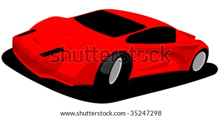 red sports car prototype -  illustration