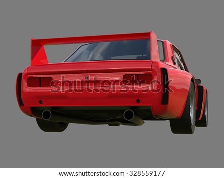 Red sports coupe. Red race car. Retro race. Japanese School tuning. Uniform gray background. Three-dimensional model. Raster illustration