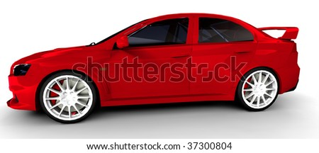 Red Sports Rally Car - side view Isolated on white
