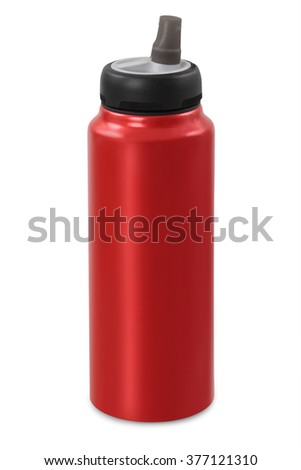 red sports water bottle, isolated on white background - stock photo