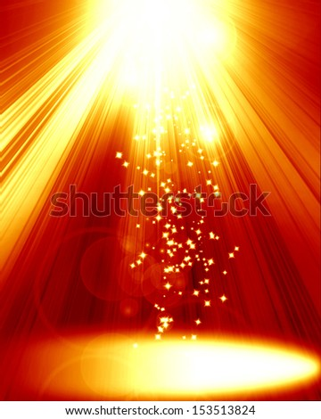 red spotlight on stage with some glitter and sparkle on it - stock photo