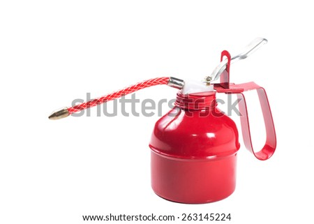 red spray gun isolated over white background - stock photo