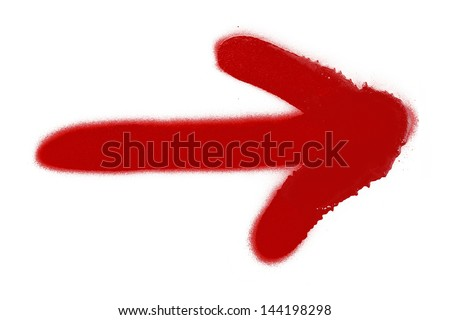 Red Spray Paint Arrow Isolated on White Background. - stock photo