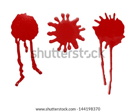 Red Spray Paint Blob Splatter Dripping Isolated on White Background. - stock photo