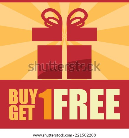 Red Square Buy 1 Get 1 Free Icon, Sticker, Banner, Poster or Label Isolated on White Background - stock photo