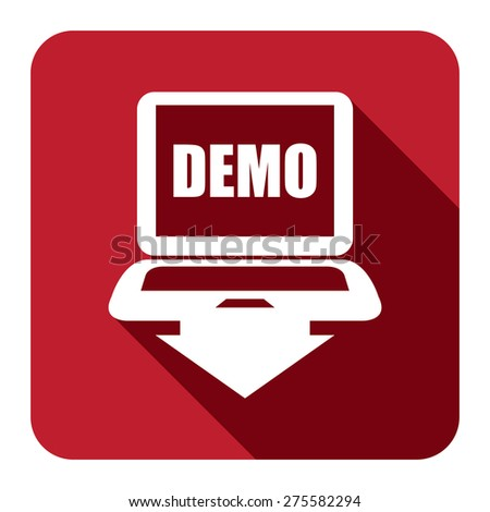 Red Square Computer Laptop With Demo Text on Screen Monitor Flat Long Shadow Style Icon, Label, Sticker, Sign or Banner Isolated on White Background - stock photo