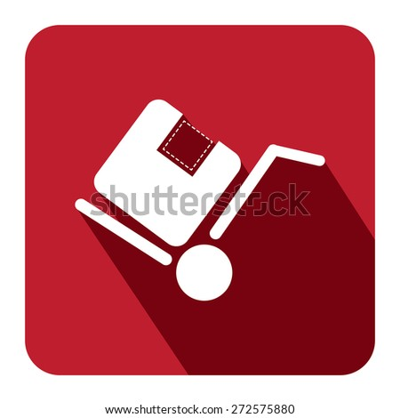 Red Square Delivery or Shipping Long Shadow Style Icon, Label, Sticker, Sign or Banner Isolated on White Background - stock photo