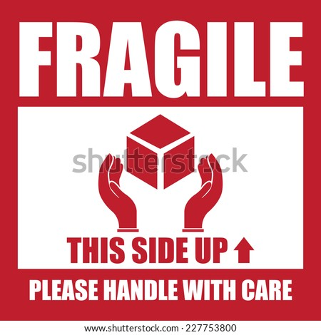 Red square fragile this side up please handle with care icon sign label