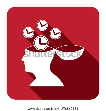 Red Square Head With Clock, Time Saving, Time Management Flat Long Shadow Style Icon, Label, Sticker, Sign or Banner Isolated on White Background - stock photo