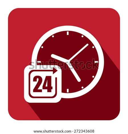 Red Square 24 Hours Service, Open 24 Hours Long Shadow Style Icon, Label, Sticker, Sign or Banner Isolated on White Background - stock photo