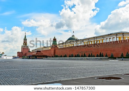 Red square in Moscow on the eve of the celebration of the 1025th anniversary of the baptism of Rus. - stock photo