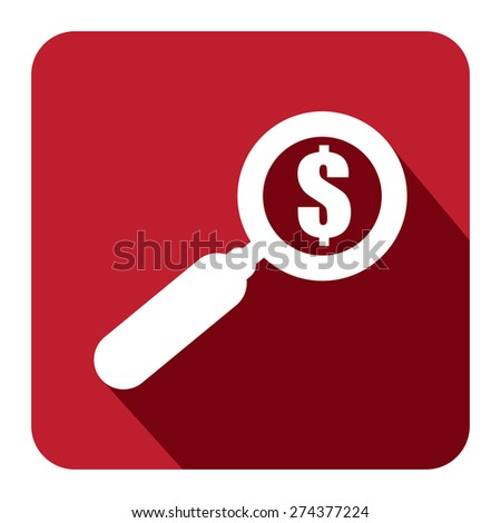 Red Square Magnifying Glass With Dollar Sign Flat Long Shadow Style Icon, Label, Sticker, Sign or Banner Isolated on White Background - stock photo