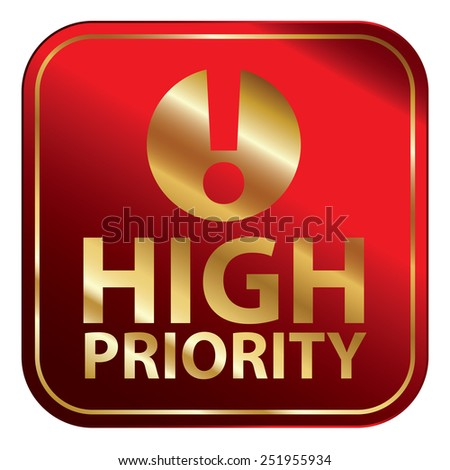 Red Square Metallic High Priority Icon, Sign, Sticker or Label Isolated on White Background  - stock photo