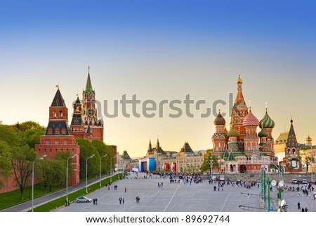 Red square, Moscow (Russia) at sunset - stock photo
