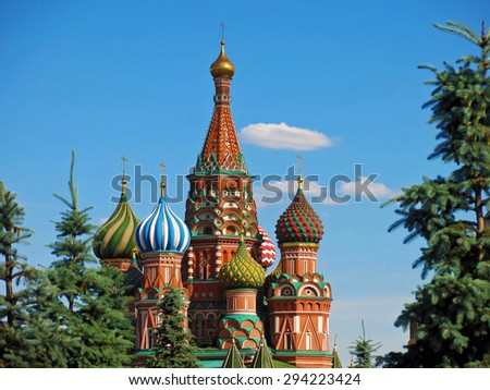 Red Square Moscow St Saint Basil Cathedral Kremlin Russia Moskva. - stock photo