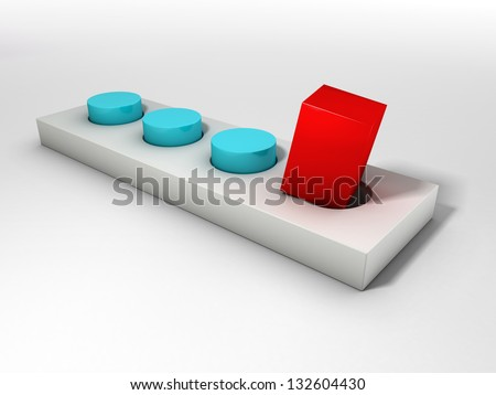Red square peg and a round hole over bright limbo - stock photo