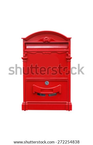 Red square post box in isolated white background - stock photo