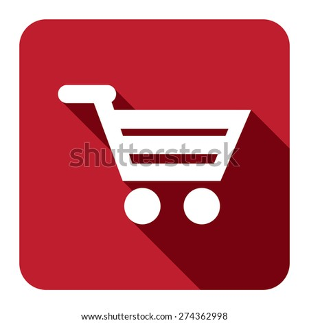 Red Square Shopping Cart, Supermarket, Online Shopping Flat Long Shadow Style Icon, Label, Sticker, Sign or Banner Isolated on White Background - stock photo