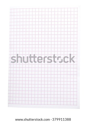 red squared paper isolate (clipping path)