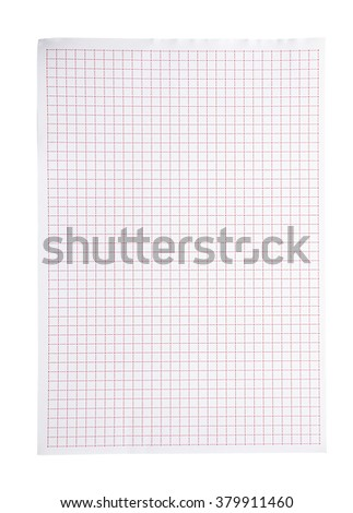 red squared paper isolate (clipping path) - stock photo