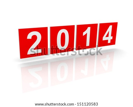 Red squares with new 2014 year numbers on white background with soft shadows. 3d design element