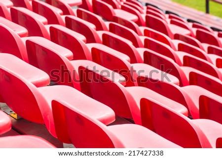Red stadium seats - stock photo