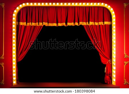 Red stage. - stock photo