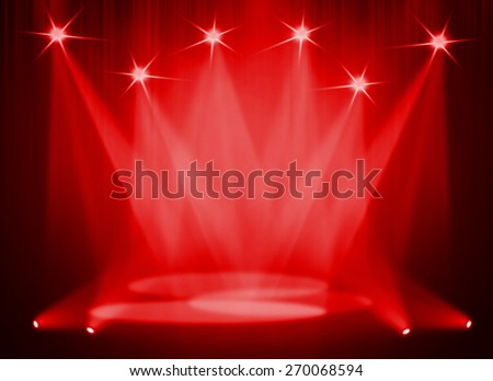 Red stage background - stock photo