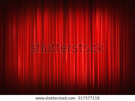 Red stage curtain on theater, illustration - stock photo