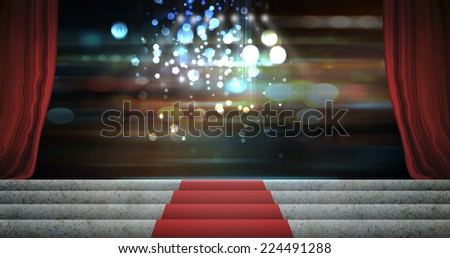 Red stage curtain open on premiere. - stock photo