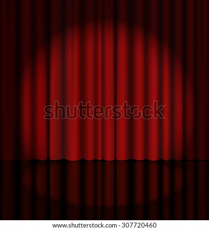 Red Stage Curtain with Light Spot - stock photo