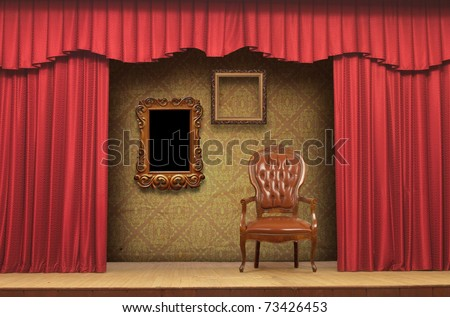 Red Stage Theater Drapes With Deep Shadows - stock photo