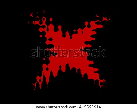 Red stain in shape of X illustration on black background - stock photo