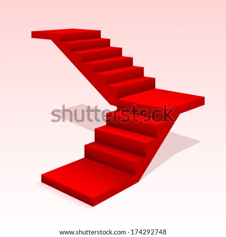 Red stair. - stock photo