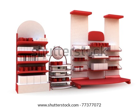 Red Stand Composition - stock photo