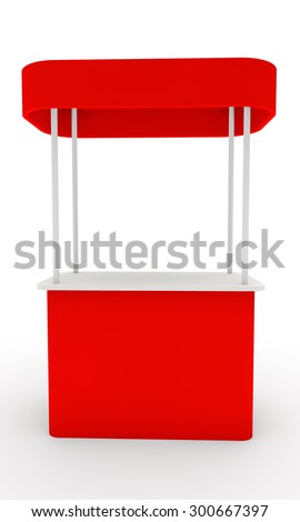red stand for display of advertizing production with a roof front view