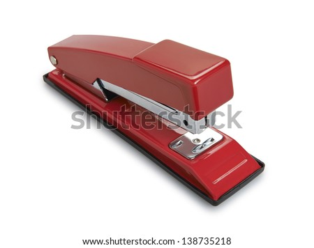 Red Stapler isolated on white