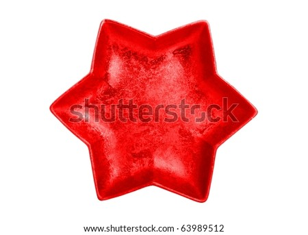 Red star isolated on white - beautiful christmas decoration - stock photo