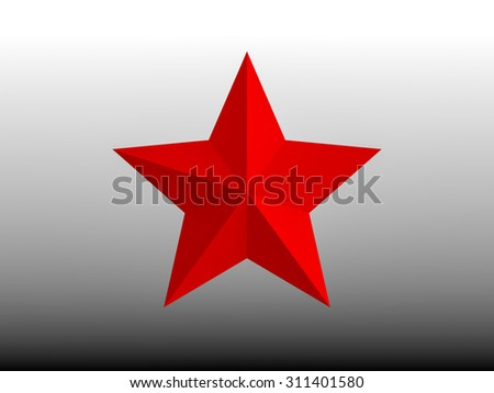 Red star on black white background - stock photo