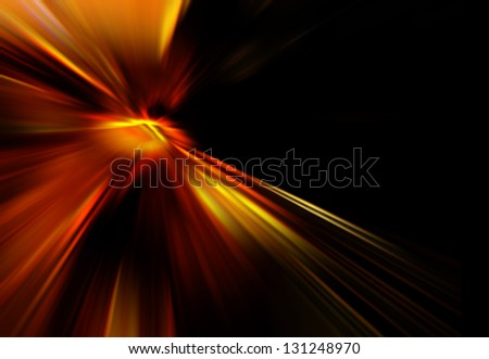 Red starburst against black background