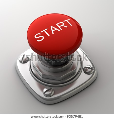 Red START  button High resolution. 3D image - stock photo