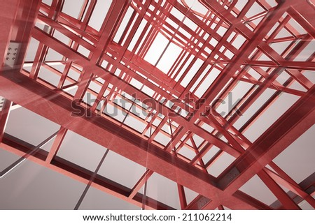 red steel framework building indoor blurred view rendering illustration - stock photo