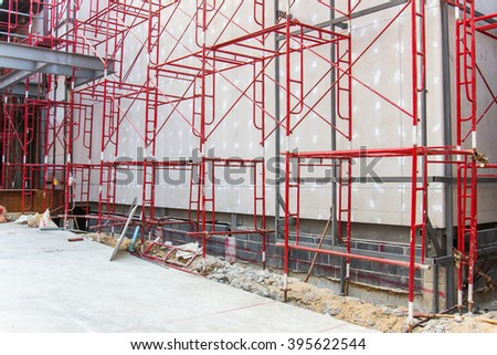 Red steel structure at construction site