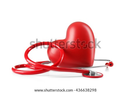 Red stethoscope and heart isolated on white - stock photo
