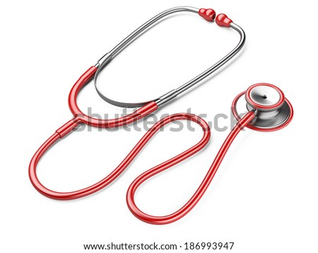 red stethoscope isolated on a white background