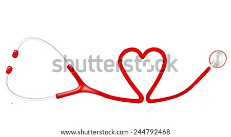 Red stethoscope with a shape of heart isolated on white background - stock photo